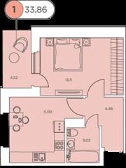 ЖК «Аквилон Stories», планировка 1-комнатной квартиры, 33.94 м²