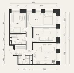 ЖК «Домашний», планировка 3-комнатной квартиры, 94.34 м²