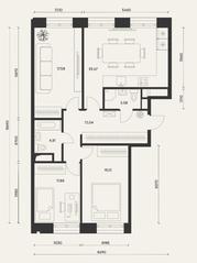 ЖК «Домашний», планировка 3-комнатной квартиры, 87.82 м²
