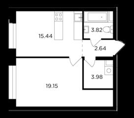 ЖК «Foriver», планировка 1-комнатной квартиры, 45.03 м²