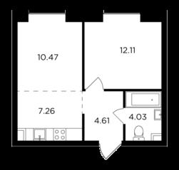 ЖК «Foriver», планировка 2-комнатной квартиры, 38.48 м²