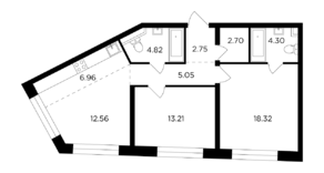 ЖК «Foriver», планировка 3-комнатной квартиры, 70.67 м²