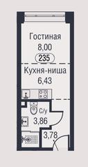 МФК «AFI Park Воронцовский», планировка студии, 22.07 м²