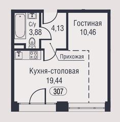 МФК «AFI Park Воронцовский», планировка студии, 37.91 м²