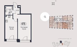 МФК «AFI Park Воронцовский», планировка 1-комнатной квартиры, 43.63 м²