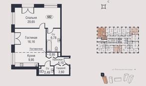 МФК «AFI Park Воронцовский», планировка 2-комнатной квартиры, 63.68 м²