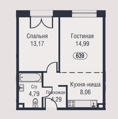 МФК «AFI Park Воронцовский», планировка 2-комнатной квартиры, 45.30 м²