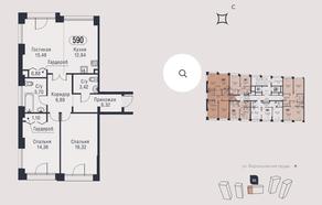 МФК «AFI Park Воронцовский», планировка 3-комнатной квартиры, 83.31 м²