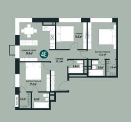 ЖК «Квартал на Никулинской», планировка 3-комнатной квартиры, 76.40 м²