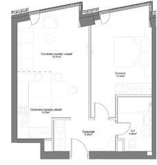 ЖК «Hide», планировка 2-комнатной квартиры, 47.82 м²