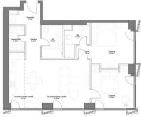 ЖК «Hide», планировка 3-комнатной квартиры, 73.66 м²