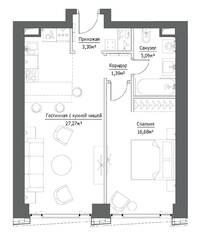 ЖК «Hide», планировка 2-комнатной квартиры, 53.73 м²
