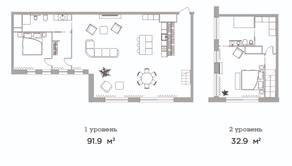 МФК «Studio 12», планировка студии, 124.80 м²