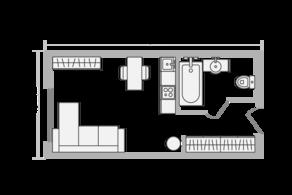МФК «Апарт-комплекс Ботаник», планировка студии, 20.00 м²