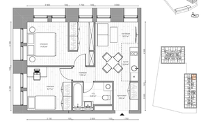 МФК «B'aires», планировка 3-комнатной квартиры, 47.02 м²