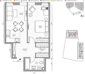 МФК «B'aires», планировка 2-комнатной квартиры, 48.66 м²