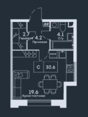 ЖК «EVER», планировка студии, 30.60 м²