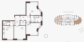 ЖК «Городские резиденции SPIRES», планировка 3-комнатной квартиры, 91.10 м²