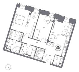 МФК «Театральный Дом», планировка 2-комнатной квартиры, 102.40 м²