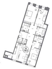 МФК «Театральный Дом», планировка 3-комнатной квартиры, 140.30 м²
