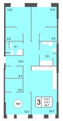 ЖК «Хорошевский», планировка 3-комнатной квартиры, 112.70 м²