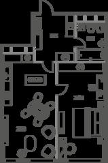 ЖК «Sky House», планировка 2-комнатной квартиры, 65.91 м²