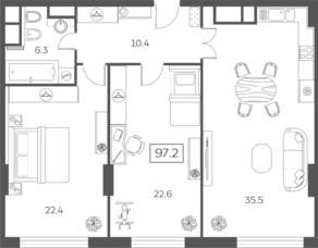 ЖК «Sky House», планировка 3-комнатной квартиры, 97.18 м²