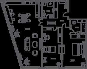 ЖК «Sky House», планировка 3-комнатной квартиры, 136.52 м²
