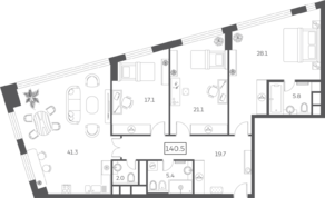 ЖК «Sky House», планировка 4-комнатной квартиры, 140.45 м²