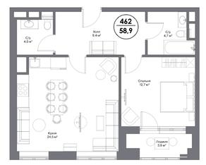 МФК «Искра-Парк», планировка 1-комнатной квартиры, 58.90 м²