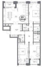 МФК «Искра-Парк», планировка 4-комнатной квартиры, 123.60 м²