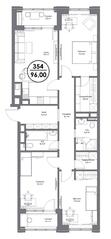 МФК «Искра-Парк», планировка 3-комнатной квартиры, 96.00 м²