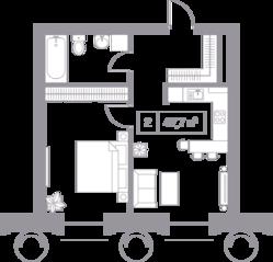 ЖК «Кутузовский XII», планировка квартиры со свободной планировкой, 47.70 м²
