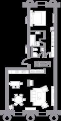 ЖК «Кутузовский XII», планировка квартиры со свободной планировкой, 95.50 м²