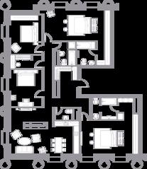 ЖК «Кутузовский XII», планировка квартиры со свободной планировкой, 207.30 м²