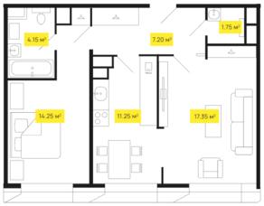 ЖК «Shome», планировка 1-комнатной квартиры, 55.80 м²