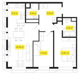 ЖК «Shome», планировка 2-комнатной квартиры, 69.85 м²