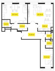 ЖК «Shome», планировка 3-комнатной квартиры, 105.10 м²