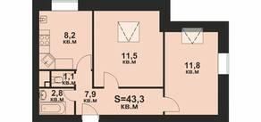ЖК «Мечта», планировка 1-комнатной квартиры, 43.30 м²