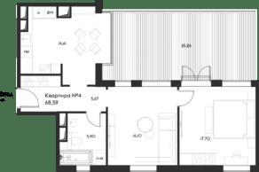 ЖК «Eleven», планировка 1-комнатной квартиры, 68.59 м²