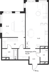 ЖК «Eleven», планировка 1-комнатной квартиры, 76.09 м²
