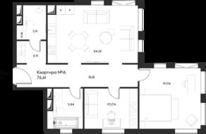 ЖК «Eleven», планировка 2-комнатной квартиры, 76.61 м²