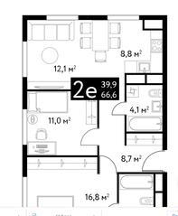 ЖК «Dialog», планировка 2-комнатной квартиры, 66.60 м²