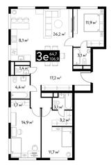 ЖК «Dialog», планировка 3-комнатной квартиры, 106.90 м²