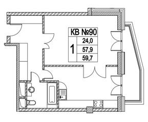 ЖК «Клубный дом на Котельнической набережной», планировка квартиры со свободной планировкой, 59.70 м²