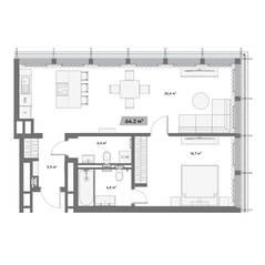 МФК «Mitte», планировка 1-комнатной квартиры, 64.20 м²
