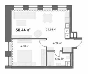 МФК «Mitte», планировка 1-комнатной квартиры, 52.40 м²