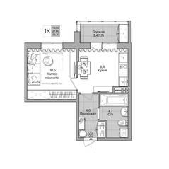 ЖК «Акация на Лежена», планировка 1-комнатной квартиры, 29.30 м²