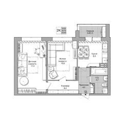 ЖК «Акация на Лежена», планировка 2-комнатной квартиры, 54.40 м²