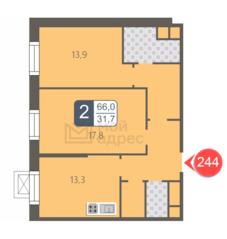 ЖК «Мой адрес на Береговом», планировка 2-комнатной квартиры, 66.00 м²
